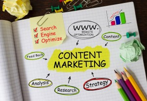 Notebook with Tools and Notes About Content Marketing - EC Writing Services